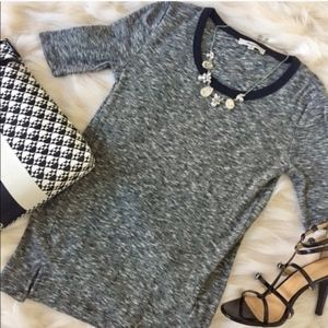 3/4 Sleeve Heather Ribbed Knit Top